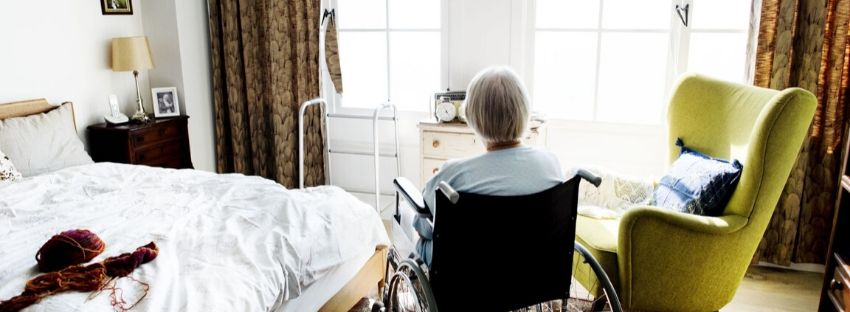 Elderly person alone in a nursing home